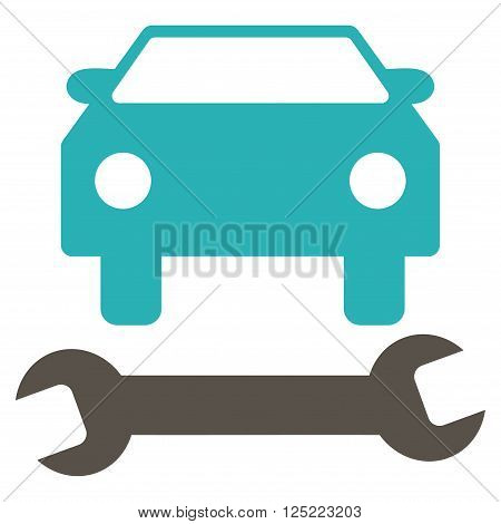 Car Repair vector icon. Car Repair icon symbol. Car Repair icon image. Car Repair icon picture. Car Repair pictogram. Flat grey and cyan car repair icon. Isolated car repair icon graphic.