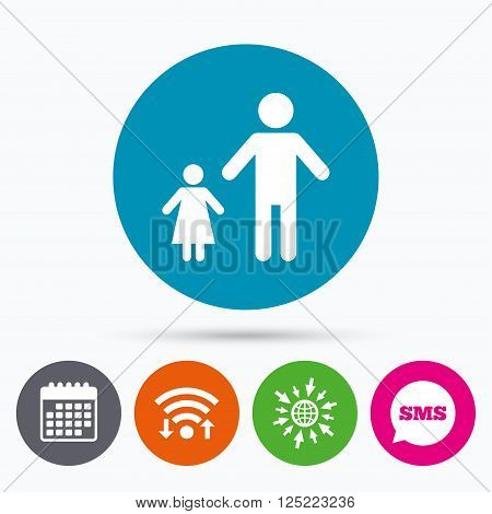 Wifi, Sms and calendar icons. One-parent family with one child sign icon. Father with daughter symbol. Go to web globe.
