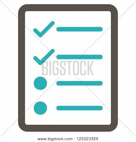 Checklist Page vector icon. Checklist Page icon symbol. Checklist Page icon image. Checklist Page icon picture. Checklist Page pictogram. Flat grey and cyan checklist page icon.