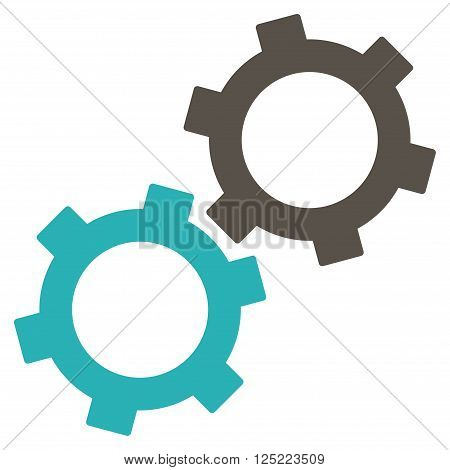 Gears vector icon. Gears icon symbol. Gears icon image. Gears icon picture. Gears pictogram. Flat grey and cyan gears icon. Isolated gears icon graphic. Gears icon illustration.