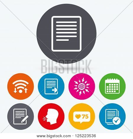 Wifi, like counter and calendar icons. File document icons. Download file symbol. Edit content with pencil sign. Select file with checkbox. Human talk, go to web.