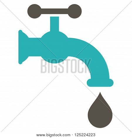 Water Tap vector icon. Water Tap icon symbol. Water Tap icon image. Water Tap icon picture. Water Tap pictogram. Flat grey and cyan water tap icon. Isolated water tap icon graphic.
