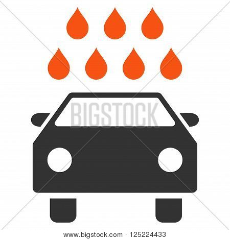 Car Shower vector icon. Car Shower icon symbol. Car Shower icon image. Car Shower icon picture. Car Shower pictogram. Flat orange and gray car shower icon. Isolated car shower icon graphic.