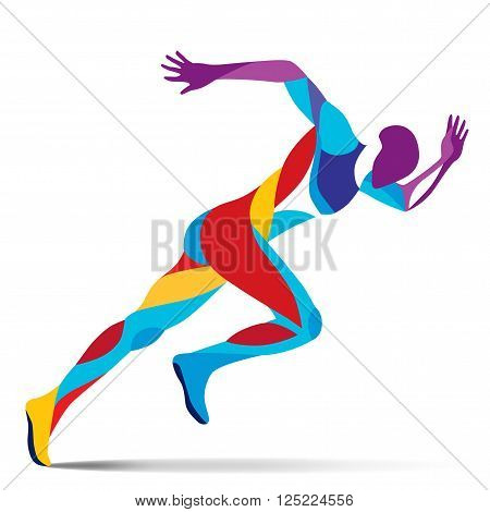 Trendy stylized illustration movement, running man, line vector silhouette of running man