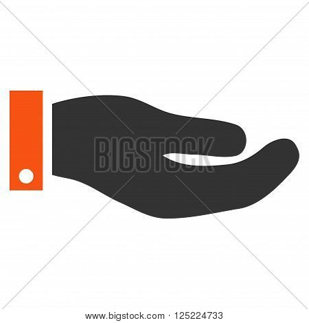 Hand vector icon. Hand icon symbol. Hand icon image. Hand icon picture. Hand pictogram. Flat orange and gray hand icon. Isolated hand icon graphic. Hand icon illustration.