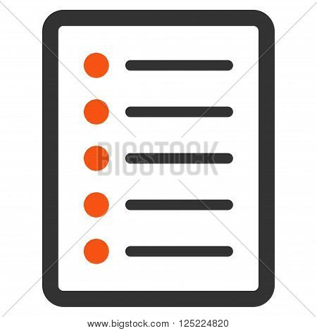 List Page vector icon. List Page icon symbol. List Page icon image. List Page icon picture. List Page pictogram. Flat orange and gray list page icon. Isolated list page icon graphic.