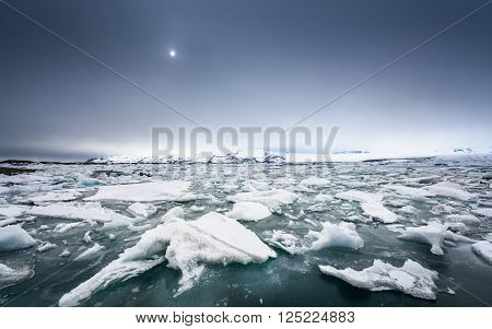 Icebergs on the shore of Jokulsarlon glacier lagoon