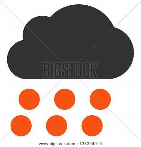 Rain Cloud vector icon. Rain Cloud icon symbol. Rain Cloud icon image. Rain Cloud icon picture. Rain Cloud pictogram. Flat orange and gray rain cloud icon. Isolated rain cloud icon graphic.