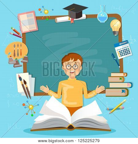 Back to school schoolboy blackboard student education vector illustration