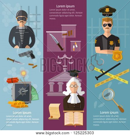 Justice system banner crime and punishment criminal trial judge in court vector illustration