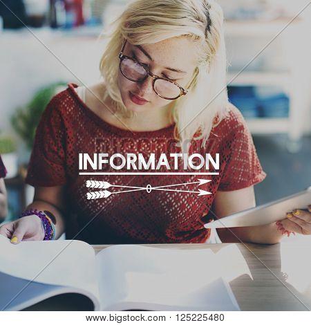 Information Details Data Content Research Statistics Concept