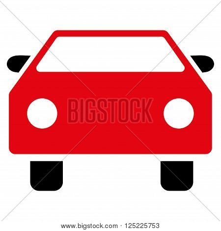 Car vector icon. Car icon symbol. Car icon image. Car icon picture. Car pictogram. Flat intensive red and black car icon. Isolated car icon graphic. Car icon illustration.