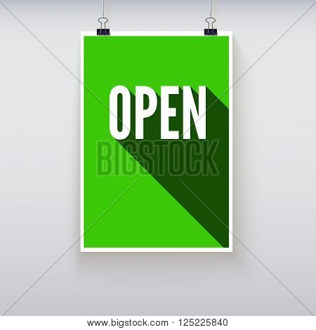 Open shopping door signs board. Vector illustration. Shopping sign board. Green open hanging poster
