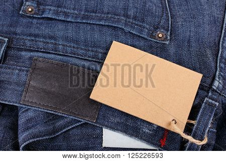 jeans closeup with blank tag for your text