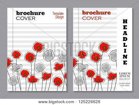 Modern vector templates for brochure cover in A4 size. Abstract red and gray poppy flowers on striped background.
