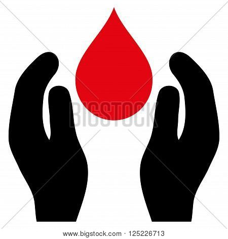 Water Care vector icon. Water Care icon symbol. Water Care icon image. Water Care icon picture. Water Care pictogram. Flat intensive red and black water care icon. Isolated water care icon graphic.