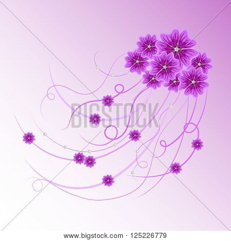 Arrangement of violet mallow flowers and ribbons with pearls  for greeting card or invitation design. Floral vector background.