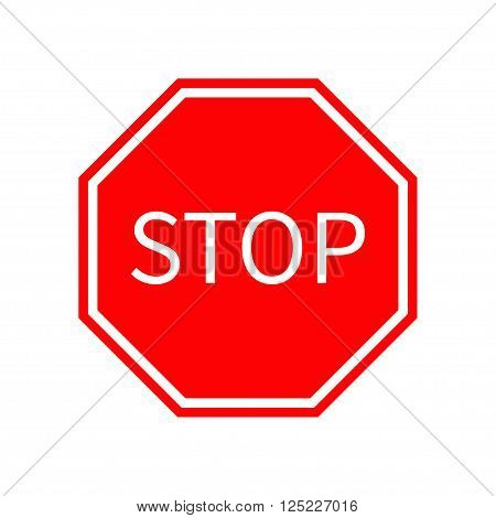 Stop traffic warning road sign. Prohibition no symbol. Template Isolated on white background. Flat design Vector illustration