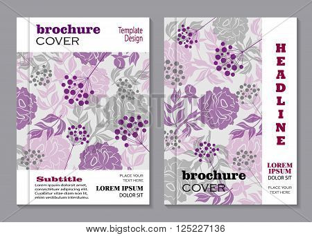 Modern vector templates for brochure cover in A4 size. Vloral vector background with peony flowers and berries.