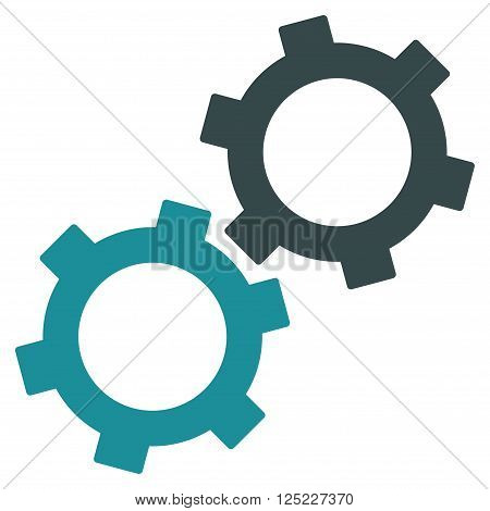 Gears vector icon. Gears icon symbol. Gears icon image. Gears icon picture. Gears pictogram. Flat soft blue gears icon. Isolated gears icon graphic. Gears icon illustration.