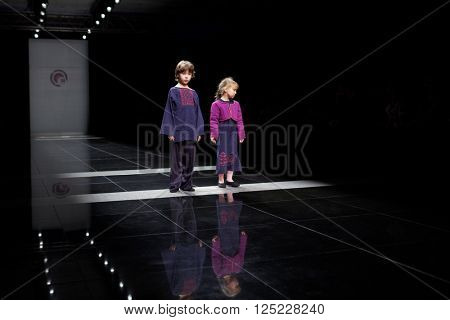 ST. PETERSBURG, RUSSIA - OCTOBER 27, 2015: Children collection of young designers at the fashion show during Mercedes-Benz Fashion Day St. Petersburg. It is one of the most popular fashion events
