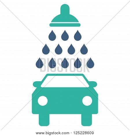 Car Shower vector icon. Car Shower icon symbol. Car Shower icon image. Car Shower icon picture. Car Shower pictogram. Flat cobalt and cyan car shower icon. Isolated car shower icon graphic.