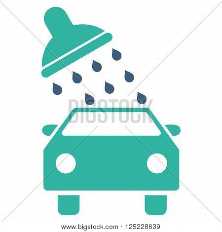 Car Wash vector icon. Car Wash icon symbol. Car Wash icon image. Car Wash icon picture. Car Wash pictogram. Flat cobalt and cyan car wash icon. Isolated car wash icon graphic.