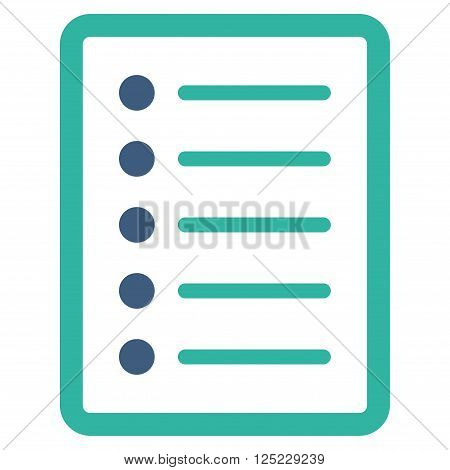 List Page vector icon. List Page icon symbol. List Page icon image. List Page icon picture. List Page pictogram. Flat cobalt and cyan list page icon. Isolated list page icon graphic.