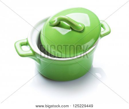 Green saucepan. Isolated on white background