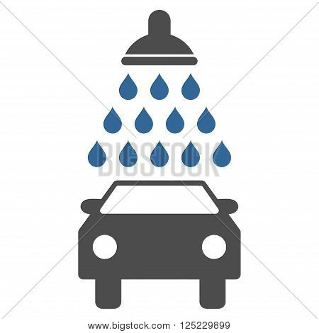 Car Shower vector icon. Car Shower icon symbol. Car Shower icon image. Car Shower icon picture. Car Shower pictogram. Flat cobalt and gray car shower icon. Isolated car shower icon graphic.