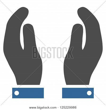 Care Hands vector icon. Care Hands icon symbol. Care Hands icon image. Care Hands icon picture. Care Hands pictogram. Flat cobalt and gray care hands icon. Isolated care hands icon graphic.