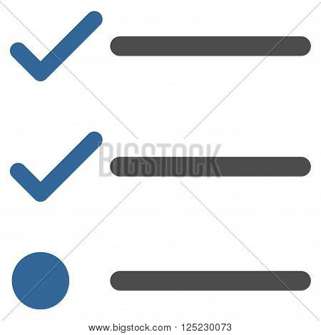 Checklist vector icon. Checklist icon symbol. Checklist icon image. Checklist icon picture. Checklist pictogram. Flat cobalt and gray checklist icon. Isolated checklist icon graphic.