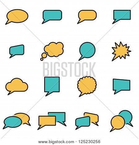 Trendy flat line icon pack for designers and developers. Vector line speach bubbles icon set