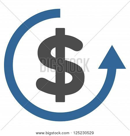 Refund vector icon. Refund icon symbol. Refund icon image. Refund icon picture. Refund pictogram. Flat cobalt and gray refund icon. Isolated refund icon graphic. Refund icon illustration.