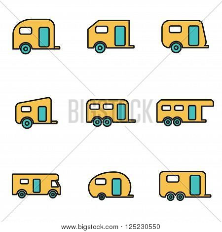 Trendy flat line icon pack for designers and developers. Vector line trailer icon set