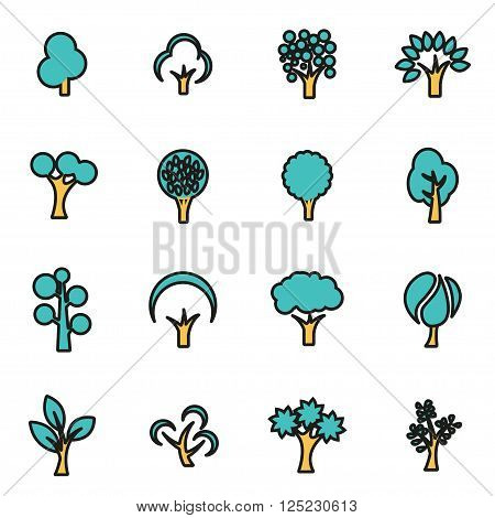Trendy flat line icon pack for designers and developers. Vector line trees icon set