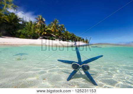 Split underwater photo of blue starfish with sunglasses in a clear tropical water on white sand beach