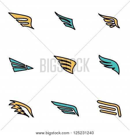 Trendy flat line icon pack for designers and developers. Vector line wing icon set