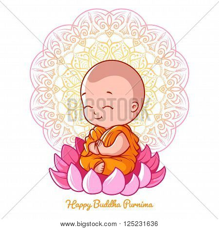 Little cartoon monk on the lotus. Greeting card for Buddha purnima. Vector illustration on a white background with mandala.