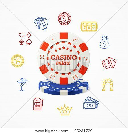 Casino Online Concept with Red and Blue Chip. Vector illustration