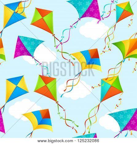 Kite Background Pattern Seamless on Sky. Vector illustration