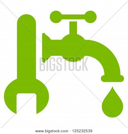 Plumbing vector icon. Plumbing icon symbol. Plumbing icon image. Plumbing icon picture. Plumbing pictogram. Flat eco green plumbing icon. Isolated plumbing icon graphic. Plumbing icon illustration.