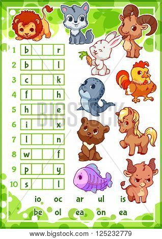 Educational rebus game with cute animals for preschool kids. Find the correct part of words. Cartoon vector illustration.