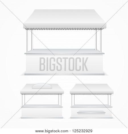 Market Stall Template White Blank. Vector illustration