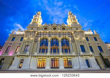 Opera House in Monte Carlo Monaco, Cote de Azul, Europe.