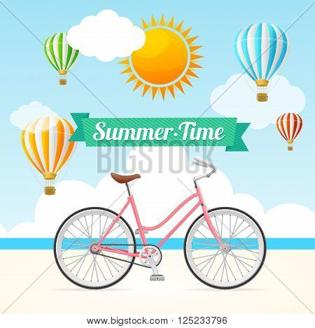 Summer Card with Hot Air Balloons and Bike. Vector illustration