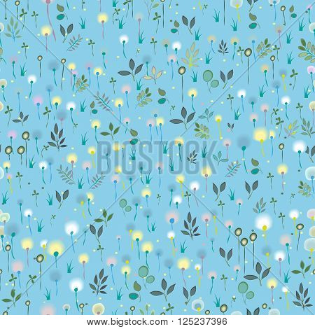 Blue Spring Blossoming Field. Vector Seamless Pattern