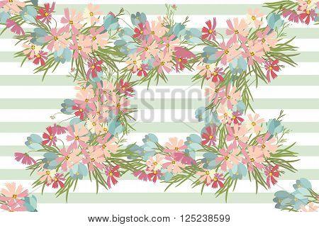 Floral Crocus Cosmos Background Vector Illustration