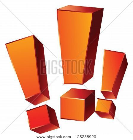 Vector illustration of three 3-d emotional orange exclamation marks isolated on white background. Ready for use on any color background.