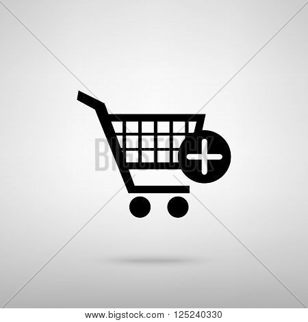 Shopping Cart and add Mark Icon. Black with shadow on gray.
